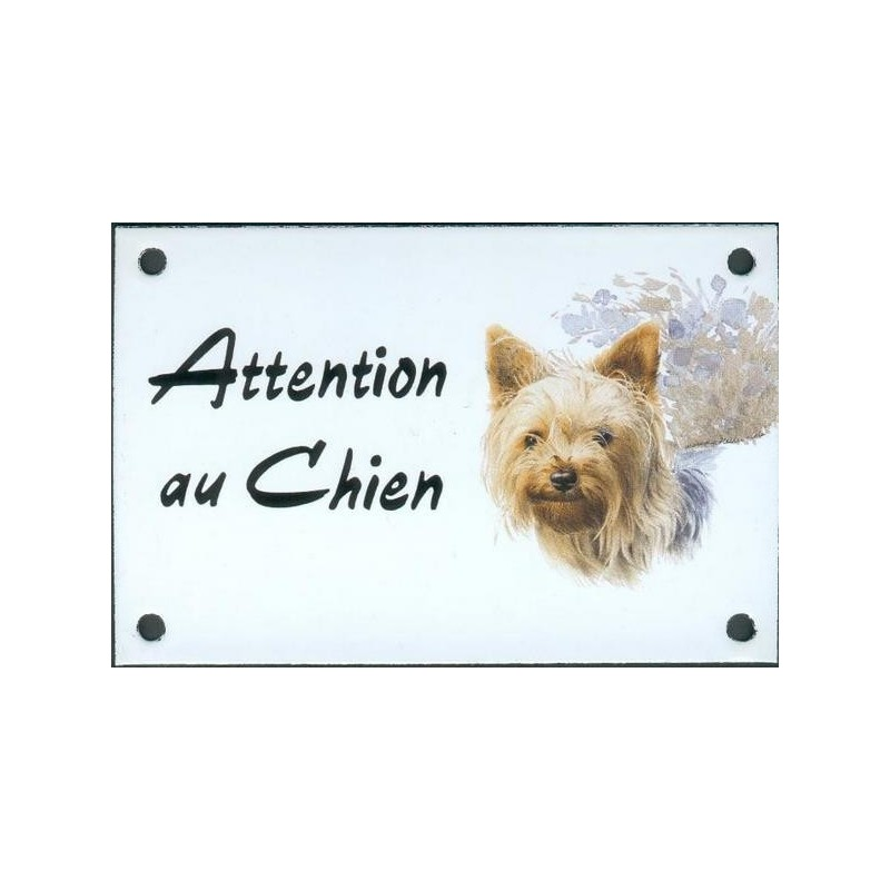 plaque mail 10x15cm attention au chien yorkshire. Black Bedroom Furniture Sets. Home Design Ideas