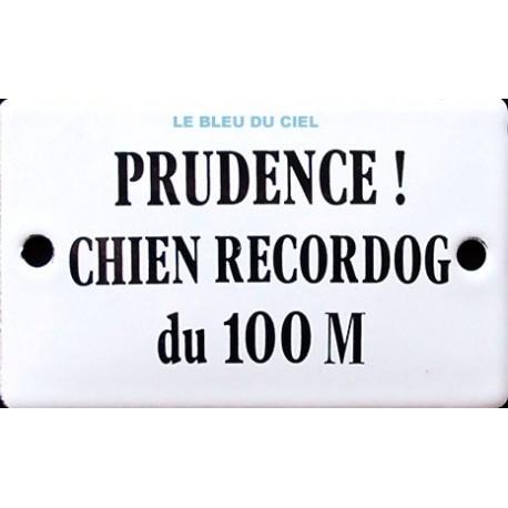 Plaque humoristique émaillée bombée de 6x10cm PRUDENCE CHIEN RECORDOG