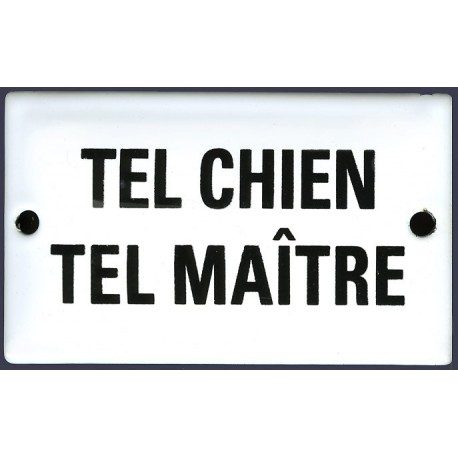 Plaque humoristique émaillée bombée   6x10 cm TEL CHIEN TEL MAITRE