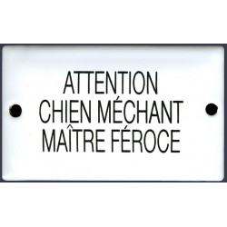 Plaque humoristique émaillée bombée  6x10 cm ATTENTION AU CHIEN MAITRE FEROCE