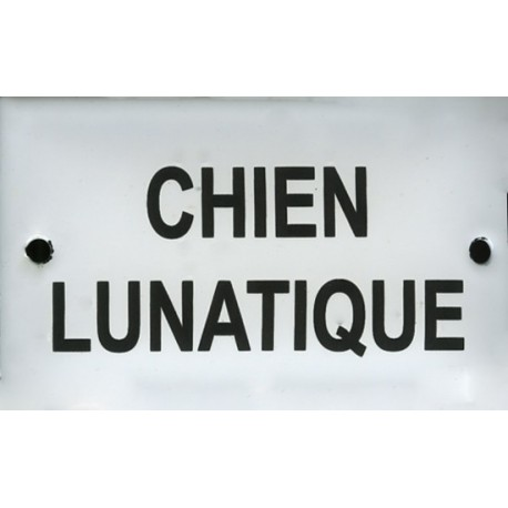 Plaque humoristique émaillée bombée 6x10cm: CHIEN LUNATIQUE