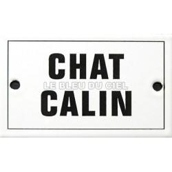Plaque humoristique émaillée plate  6x10cm:   CHAT CALIN