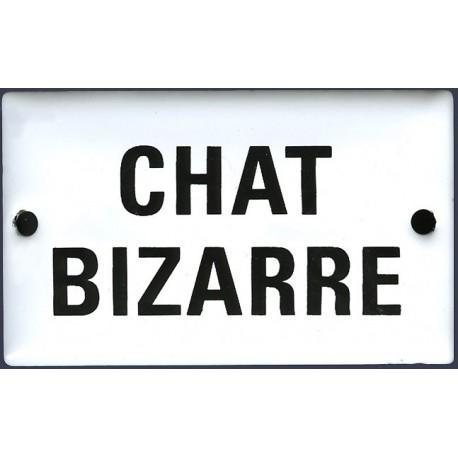 Plaque humoristique  émaillée bombée  6x10 cm : CHAT BIZARRE