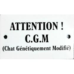 Plaque humoristique émaillée bombée 6x10 cm : ATTENTION CHAT GÉNÉTIQUEMENT MODIFIÉ