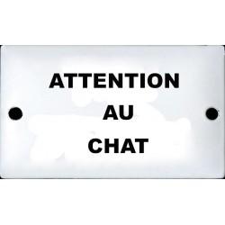 Plaque de rue émaillée 6x10cm : ATTENTION AU CHAT