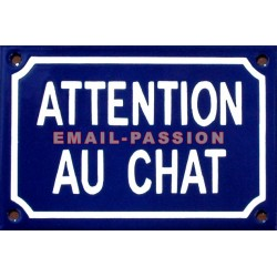 Plaque humoristique émaillée 10x15cm : ATTENTION AUX CHAT