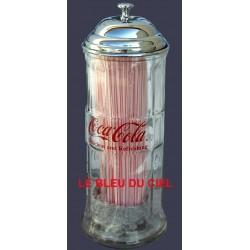 Distributeur de paille Coca Cola en verre et métal chromé 30x10cm