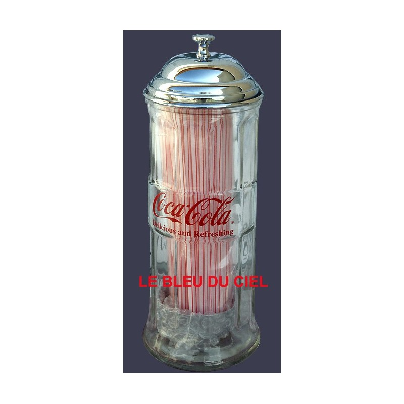 Distributeur De Paille Coca Cola En Verre Et M Tal Chrom