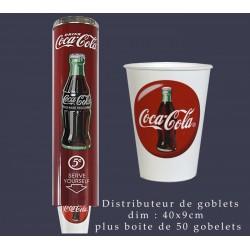 Distributeur coca cola avec sa recharge de 50 gobelets dim : 40x9c