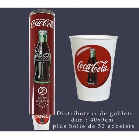 Distributeur coca cola avec sa recharge de 50 gobelets  dim : 40x9cm