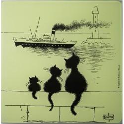 Dessous de plat en verre lisse 3 chats sur le mur