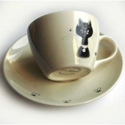 Tasse céramique Thé/Café avec soucoupe chat par Dubout