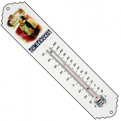 Thermomètre émaillé bombé hauteur 30cm : CHARLES GERVAIS
