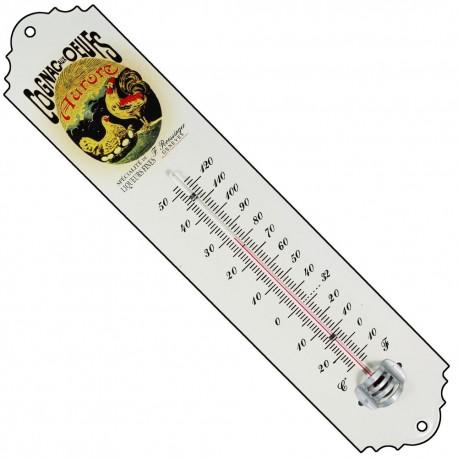 Thermomètre émaillé bombé hauteur 30cm : COGNAC AUX OEUFS