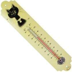 Thermomètre métal bombé hauteur 30cm : CHAT DUBOUT LA MOUCHE