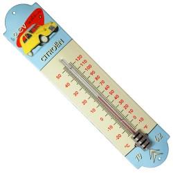 Thermomètre émaillé bombé  hauteur 42cm : CITROËN  2cv