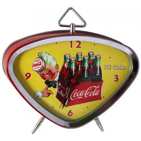 Réveil rétro métal peint, cadran chrome et verre bombé dim : 15x13cm, Coca Cola