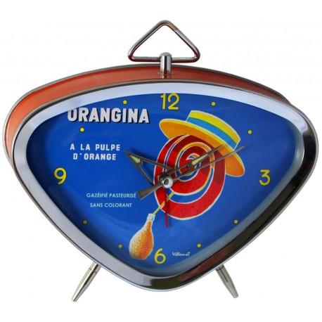 Réveil rétro métal peint, cadran chrome et verre bombé dim : 15x13cm, Orangina