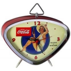 Réveil rétro métal peint, cadran chrome et verre bombé dim : 15x13cm, Coca-Cola Pin up