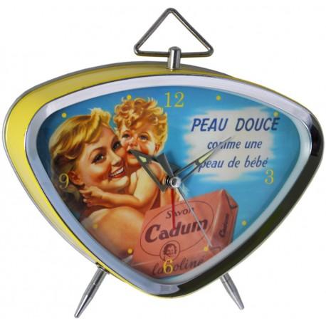 Réveil rétro métal peint, cadran chrome et verre bombé dim : 15x13cm,  Savon Cadum