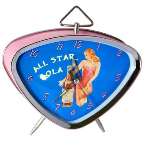 Réveil rétro métal peint, cadran chrome et verre bombé dim : 15x13cm, All-star Kola