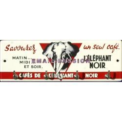 Accroche clés, torchons, etc... émaillé : Café de l'éléphant Noir