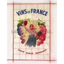 Torchon en pur coton VINS DE FRANCE dim 50x70c