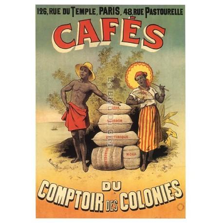 Carte Postale format 15x21cm café COLONIE