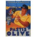 Carte Postale au format 15x21cm Pastis Olive, Marseille