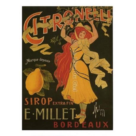 Carte Postale au format 15x21cm Citronelli, sirop extra fin E.Millet Bordeaux
