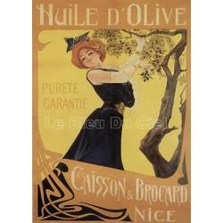 plaques émaillées : Magnet émaillé bombé dimension 6x8cm Huile Olive de Nice