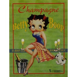 Magnet tôle plat dimension 6x8cm BETTY BOOP CHAMPAGNE