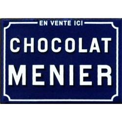 Magnet émaillé CHOCOLAT MENIER, style plaque de rue plat Dim : 7x5 cm