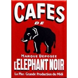 MAGNET EMAILLE plat Dimension 7x5 cm Café ELEPHANT NOIR