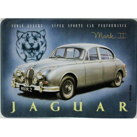 Magnet tôle, plat  dimension 6x8cm Jaguar Mark II