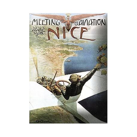 plaques émaillées : Magnet émaillé bombé dimension 6x8cm Nice meeting aérien