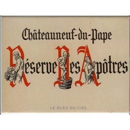 Décoration cuisine : Magnet tôle dimension  6x8cm plat : Vin Réserve des Apôtres. Chateauneuf du Pape