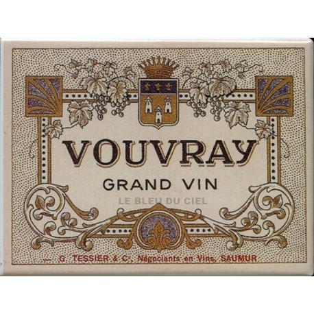 Décoration cuisine : Magnet tôle dimension  6x8cm plat  :  Vin de Saumur Vouvray