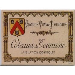 Décoration cuisine : Magnet tôle dimension  6x8cm plat : Grands Vins de Touraine