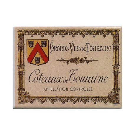 Décoration cuisine :Magnet tôle dimension 6x8cm plat : Grands Vins de Touraine