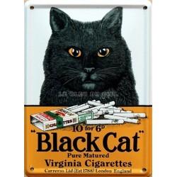 Plaque métal bombée10x15cm : Black Cat