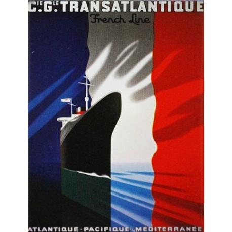 Décoration intérieure : Magnet tôle, plat,  dimension 6x8cm:  compagnie transatlantique