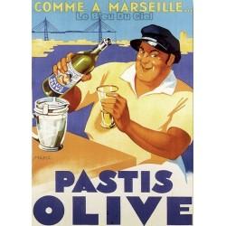 Pour votre décoration intérieure, Affiche publicitaire dim : 50x70cm Pastis Olive