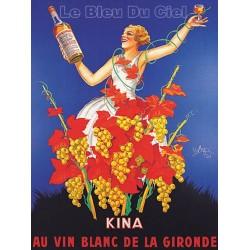 Affiche publicitaire dim 100X70CM Kina au vin blanc de Gironde