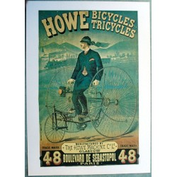 Affiche publicitaire dim : 50x70cm : Howe bicycles-tricycles