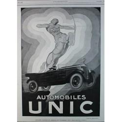 Affiche publicitaire N&B l'illustration  dim : 26x36cm :  Automobiles UNIC