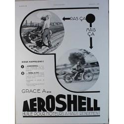 Affiche publicitaire N&B l'illustration dim : 26x36cm Huile Aeroshell