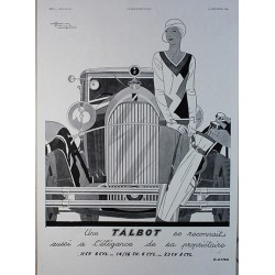 Affiche publicitaire N&B l'illustration dim : 26x36cm : Talbot