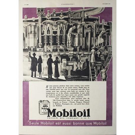 Affiche publicitaire N&B l'illustration  dim : 26x36cm : Huile Mobiloil