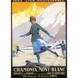 Affiche publicitaire dim : 50x70cm  : CHAMONIX MONT BLANC